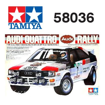 The Tamiya Audi Quattro RC car number 58036