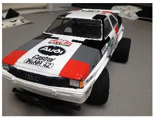 The Tamiya Audi Quattro RC car number 58056